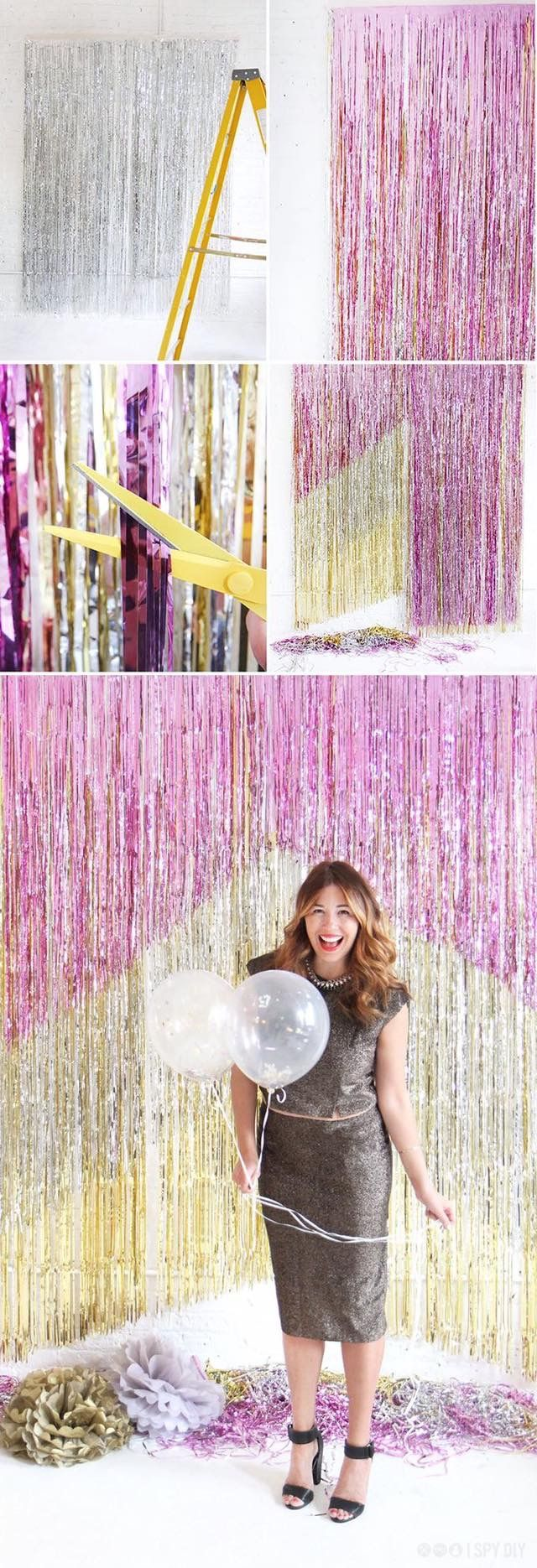 girl with balls on the background of tinsel