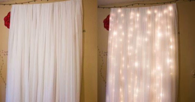 garland behind a white curtain