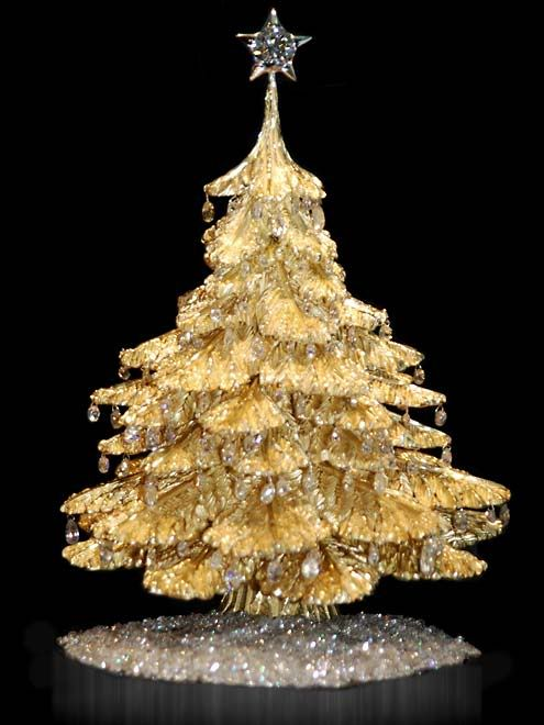 Steve Quick Gold Golden Table Tree with Platinum Star