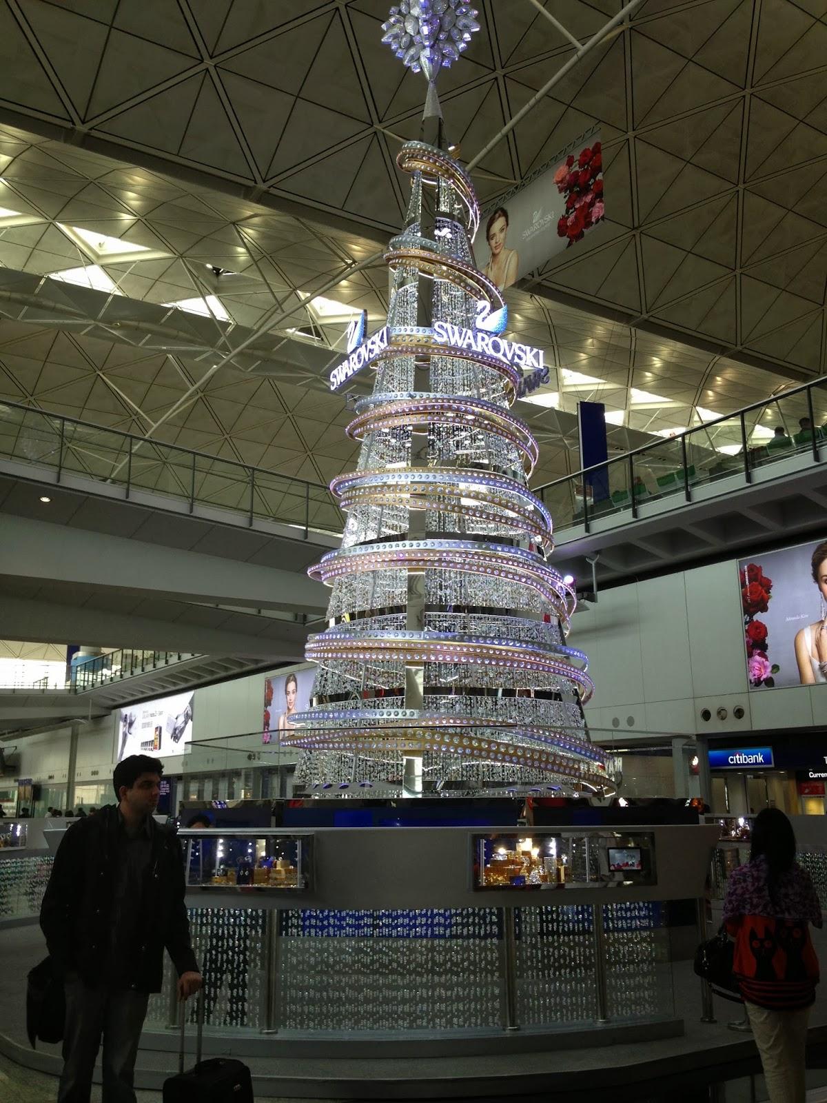 Swarovski Crystal Christmas Tree at Hong Kong Airport