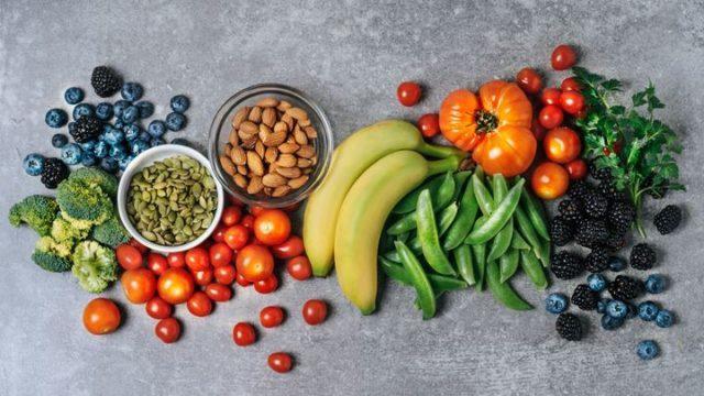 vegetables, fruits, nuts