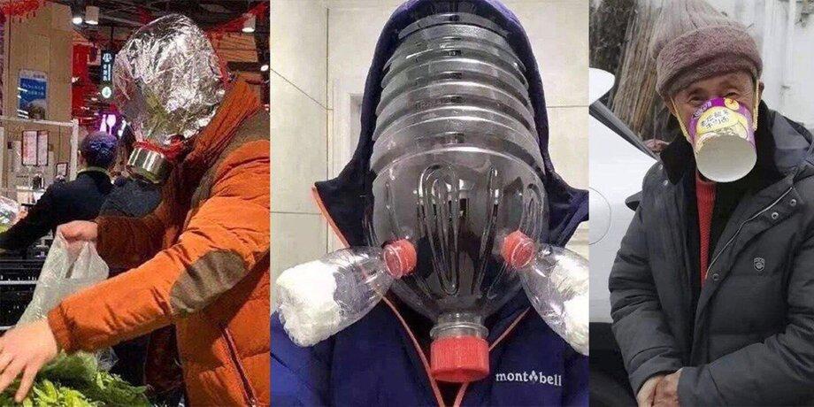 Orange Mask And Bottles. Unusual Methods Of Chinese Inhabitants Struggle With Coronavirus! 36