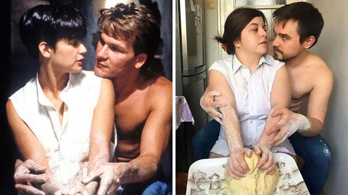 Fascinating Couple recreates scenes from films during quarantine. Real Fun! 43