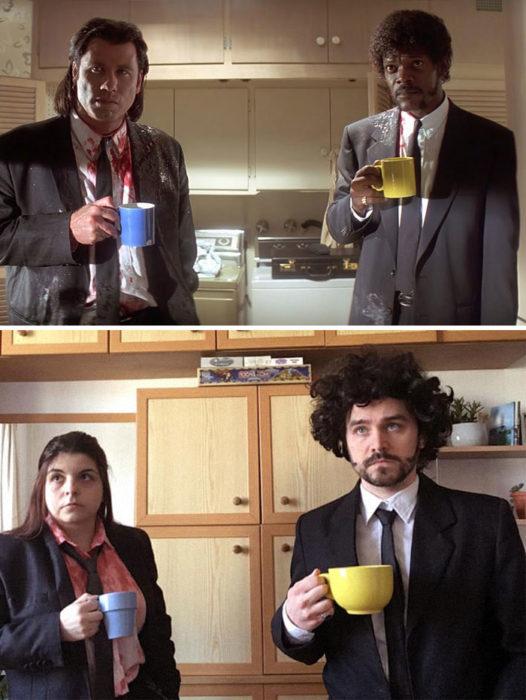 Fascinating Couple recreates scenes from films during quarantine. Real Fun! 50