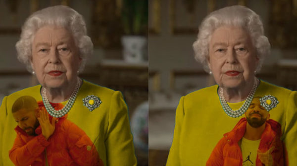Queen wears green dress and unleashes Photoshop battle. Best Queen meme! 61