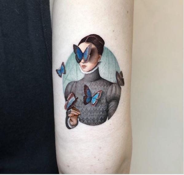tattoo girls with butterflies