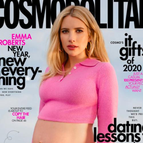 Enchant Pregnant Emma Roberts poses for Cosmopolitan cover 36