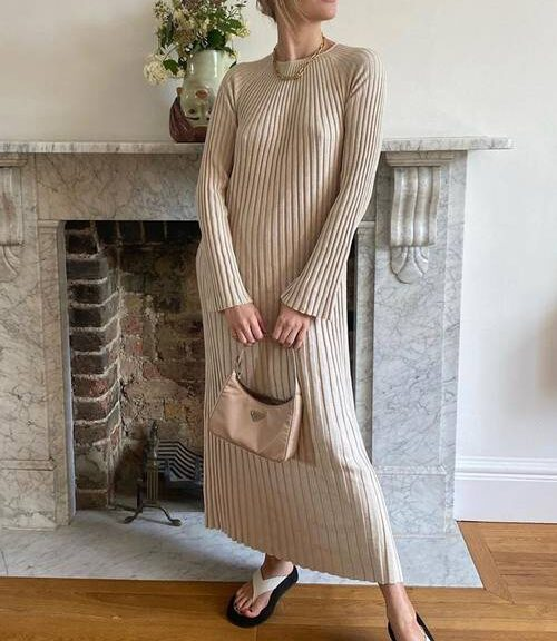 "Super Warm knitted dresses 2021 and high boots are our ""uniform"" for cold weather"