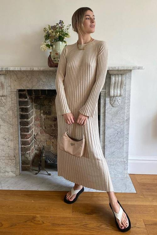 """Super Warm knitted dresses 2021 and high boots are our """"uniform"""" for cold weather 36"""